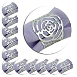 12Stück Serviette Ringe, Hollow Out Rose Design Metall Ring Abendessen Tuch Halter Cover für Küche Hochzeit Banquet Dinner Decor silber
