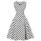 Damen Vintage 1950er Rockabilly Kleid Cocktailkleid Abendkleid Ärmellos Retro Schwingen Große Größen Polka Dot Kleider A-Line 4XL