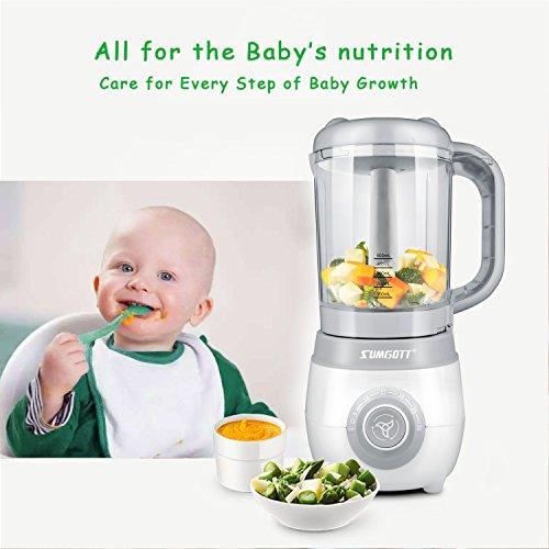 SUMGOTT Babynahrungszubereiter - 4 in 1 Babynahrung Dampfgarer und Mixer mit Dämpfen, Mixen, Auftauen und Heizung Multifunktionen Küchenmaschine - 7