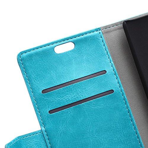 EKINHUI Case Cover Crytal Grain Texture Solid Color Premium PU Leder Folio Stand Case Geldbörse Tasche Tasche mit Card Slots für iPhone X ( Color : Red ) Blue