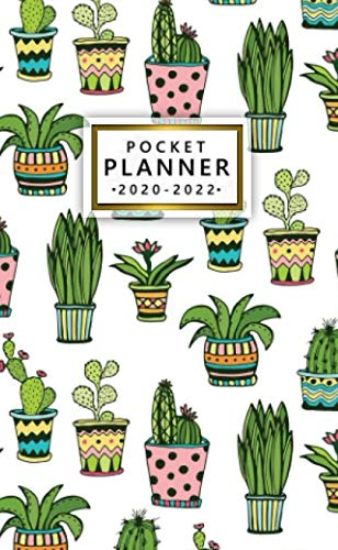 pocket planner 2020-2022: three year organizer & calendar with monthly spread view | 36 month agenda & diary with inspirational quotes, phone book, ... & notes | cute potted cactus & house plants