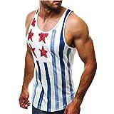 Moda Camisole di Bandiera Casuale Maglietta da Uomo Palestra Muscolo  feiXIANG Senza Maniche T-Shirt Canotte Sportivo Camicetta Bodybuilding Sports Tees Canotta Tops Tank (Blu, M)