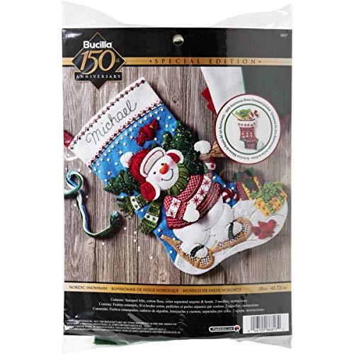 Bucilla, blau, weiß, rot, 45,7cm-Weihnachtsstrumpf aus Filz (Weihnachtsstrumpf Filz Kit)