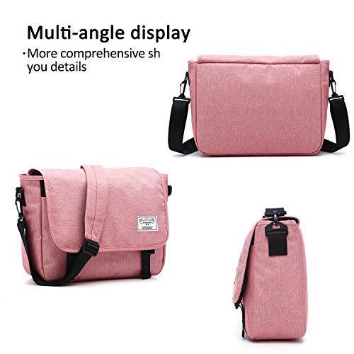 FANDARE Messenger Bag Umhängetasche Schultertasche Laptoprucksäcke Tasche Kuriertasche Polyester Grau Rosa