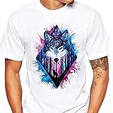 Heißer Sommer Herren Kurzärmliges Wolf Print Top Rundhals-T-Shirt für Männer GreatestPAK,Weiß Blau,L