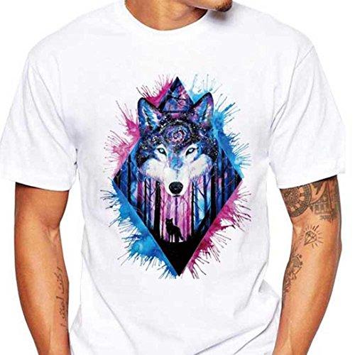 Mädchen T-shirt Für Eminem (Heißer Sommer Herren Kurzärmliges Wolf Print Top Rundhals-T-Shirt für Männer GreatestPAK,Weiß Blau,XXL)