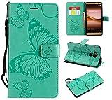 Huawei Mate 8 Hülle, Conber Lederhülle Handyhülle mit [Kostenlose Schutzfolie], PU Tasche Leder Flip Case Cover Emboss 3D Schmetterling Schutzhülle für Huawei Mate 8 - Grün
