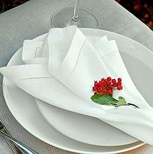 Linen & Cotton 4 x Luxus Stoffservietten FLORENCE mit Hohlsaum - 43cm x 43cm, 100% Leinen (Weiß/ Weiss)
