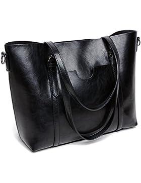 DIYNP Damen Handtaschen Schultertasche große Tote Shopper Taschen Henkeltasche Vintage Umhängetasche Schulterbeutel