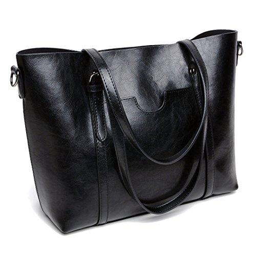 DIYNP Damen Handtaschen Schultertasche große Tote Shopper Taschen Henkeltasche Vintage Umhängetasche Schulterbeutel (Schwarz) (Groß Schwarz Shopper)