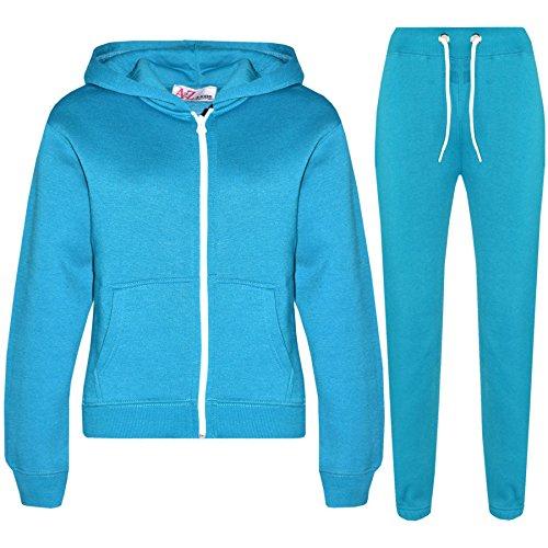 A2Z 4 Kids® Kinder Mädchen Jungen einfarbig Trainingsanzug Kapuzenpullover - Türkis, 9-10 Jahre