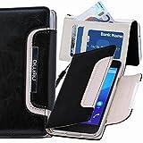 Sony Xperia M2 Hülle, numia Handyhülle Handy Schutzhülle [Book-Style Handytasche mit Standfunktion und Kartenfach] Pu Leder Tasche für Sony Xperia M2 Dual Case Cover [Schwarz-Weiss]