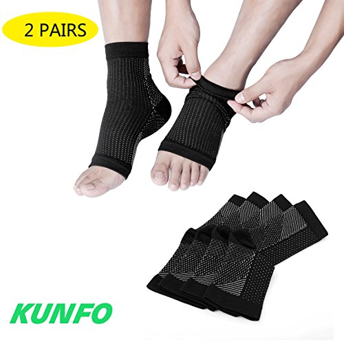 Calcetines de tobillo de Kung Fu Ultimate para la fascitis plantar, para el dolor, el regalo ideal para el corredor (2 pares de calcetines de compresión por paquete), color negro, tamaño L / XL