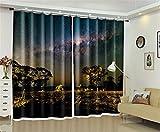 Liya Thermal Isolated Blackout Vorhänge, 3D Wild Night Scene Printing Vorhänge Energiesparende & Lärmreduzierung Für Wohnzimmer Bettwäsche Büro Vorhänge, 80 * 95 inch