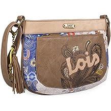 LOIS - 17580 Bolso de mujer bandolera ajustable. Cierre con cremallera. Dos bolsillos exteriores, delante y detrás con cremallera. Casual. Bordado.