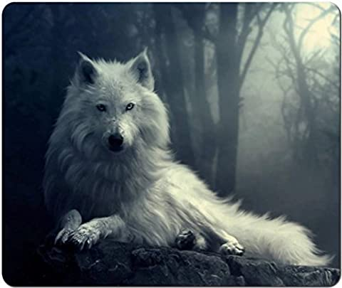 Black & White Wolf In Moonlight Scene Computer Mouse Pad