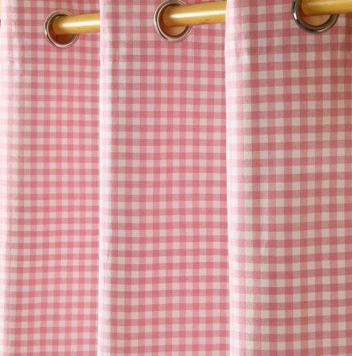 Homescapes ' tenda con occhielli tenda decorativa gingham nel set da pezzi, 117x 137cm, 100% puro cotone, rosa bianco a quadretti