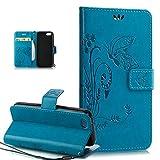 ikasus Compatible avec Coque iPhone 5C Etui,Motif Gaufrage Art Fleur Papillon Housse...