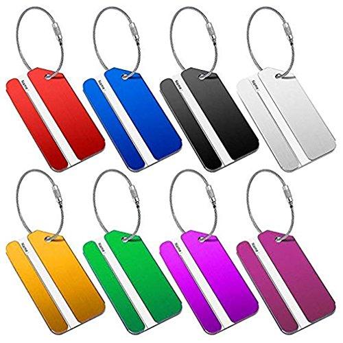huifan Gepäckanhänger, Metallanhänger für Reisekoffer, Handtasche ID-Adressaufkleber mit Feststellkabeln in leuchtenden Farben