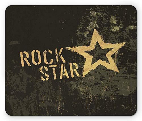Star Mouse Pad, Rock Star Lettering Dark Grunge Backdrop with Star Concert Music Themed Art Print, Standard Size Rectangle Non-Slip Rubber Mousepad, Brown Mustard 9.8 X 11.8 inch