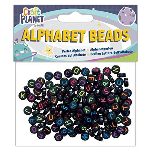 Alpha Alphabet Bead (Craft Planet Beads, Schwarz, Einheitsgröße)