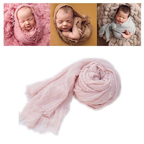 Neugeborenen Babyfotografie Props Kostüm Jungen Mädchen Baby Fotografieren Fotoshooting Set Decke Wickeln Ripple Wickeln (Hell-Pink)
