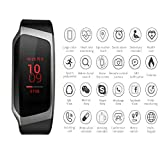 ZEERKEER Smart Watch LED Touch Screen Bluetooth Uhr Herren Damen Wasserdicht IP67Fitness Tracker Sleep Monitoring Armband für IOS Android, Pistola Nero