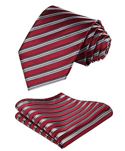 Hisdern Herren Krawatte Gestreifte Hochzeit Krawatte & Einstecktuch Set Rot & Grau