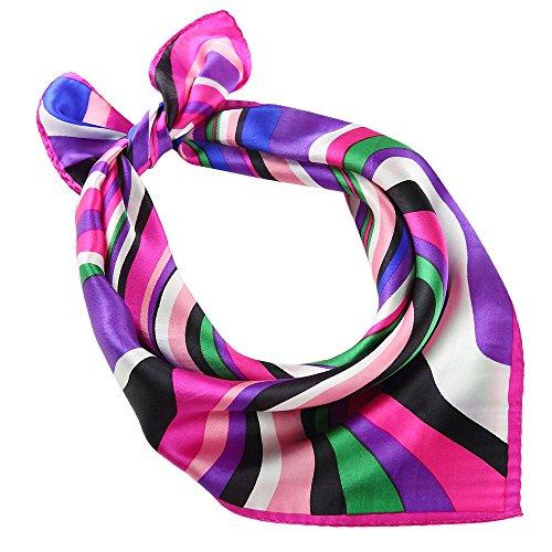ShowYeu Damen Quadratischer Schal Kopf Halstuch Seide Blumen Tuch Stolen Tücher Violett