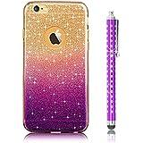 Para IPhone 5 SE Funda Silicona de Gel TPU Case Suave Con Bling Rhinestone Crystal Carcasa- Sunroyal® Funda para Apple 5 5G 5S Móvil Carcasa Resistente a los Arañazos Color de Púrpura+ Metal Lápiz Táctil/Stylus Touch Pen