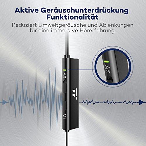 Noise Cancelling Kopfhörer TaoTronics In Ear Ohrhörer mit Rauschunterdrückung verstärkter Wahrnehmung Überwachungsmodus, ANC MEMS Mikrofon und erstklassisches Aluminium in mattschwarzer Ausführung - 2