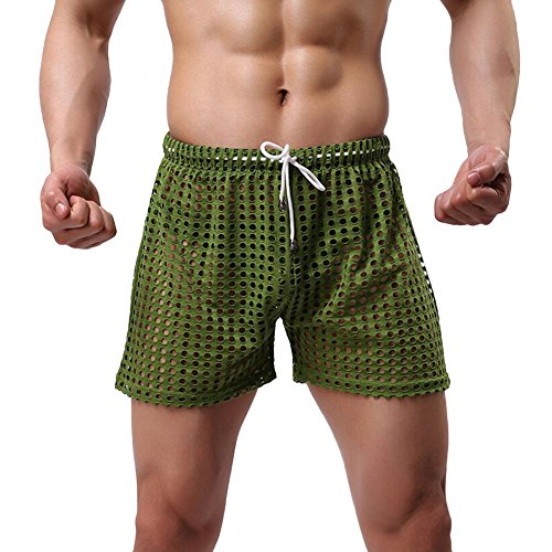 Feicuan Uomo Drawsting Loose Fishnet Home Breathable Mesh Pantaloncini -L25 Green