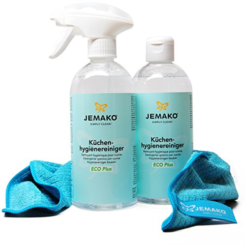 JEMAKO Küchen-Hygienereiniger, ECO Plus 500ml. inkl. Profituch und Schaumpumpe 1L (2x 500ml) inkl. Profituch und Schaumpumpe