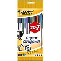 BIC Cristal Original - Pack de 20 + 7 bolígrafos, colores azul, negro, rojo y verde