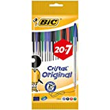 BIC Cristal Original Stylos-Bille - Couleurs Assorties, Pochette de 20+7