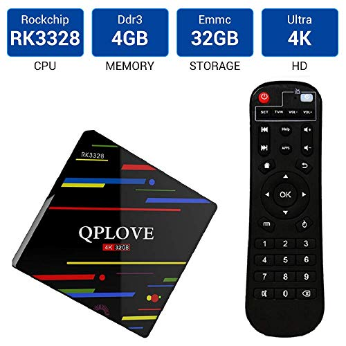 QPLOVE Android TV Box,【4G+32G】 Android 8.1 Box RK3328 Quad Core 64bit Cortex-A53/ Android Box Wi-Fi Dual-Band/HDMI 2.0/ Box TV UHD 4K TV/USB 3.0 Android 8.1 is able to Update Android 9.0 TV Box Bluetooth Dual-band-tv