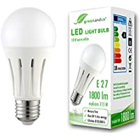 Bombilla LED greenandco® E27 18W (corresponde a 115W) opaca 1800lm 3000K (blanco cálido) 270° 230V AC, sin parpadeo, no regulable