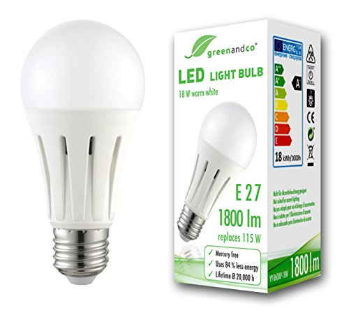 greenandco® LED Lampe ersetzt 115 Watt E27 Birne matt, 18W 1800 Lumen 3000K warmweiß 270° 230V AC, flimmerfrei, nicht dimmbar, 2 Jahre Garantie -