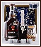 Geschenk Jim Beam Single Barrel Bourbon Whiskey + 4 Kühlsteine im Smoking + Glas Nachtmann kostenloser Versand