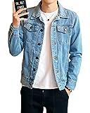 Denim Jacket de Manga Larga para Hombre Vintage Outwears Slim Fit Vintage Chaquetas Vaqueras Azul Claro L