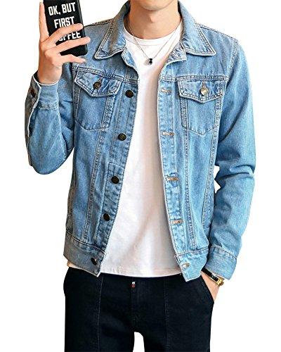 Uomo giacca di jeans vintage classica giubbotto denim giacca panciotto sottile blu chiaro l