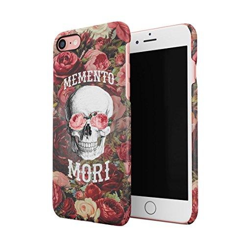 Memento Mori Blumen Skull Rot Rose Blossom Pattern Dünne Rückschale aus Hartplastik für iPhone 7 & iPhone 8 Handy Hülle Schutzhülle Slim Fit Case Cover Apple Blossom Pattern