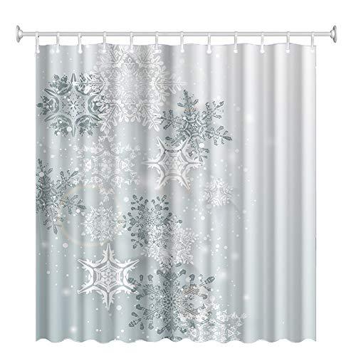 XuBa Weihnachtsserie Bedruckter Duschvorhang Wasserdichter Duschvorhang Badezimmer Duschvorhang 7