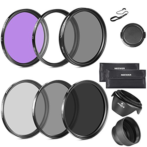 Galleria fotografica Neewer® 52 mm must have Lens Filter Accessory kit per Nikon Carrying Pouch + Collapsible Lens Hood + Tulip Lens Hood + snap-on Front Lens Cap + copriobiettivo