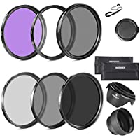 Neewer® 52mm Must Have Lens Filter Accessory Kit for NIKON Carrying Pouch + Collapsible Lens Hood + Tulip Lens Hood + Snap-On Front Lens Cap + Cap Keeper Leash