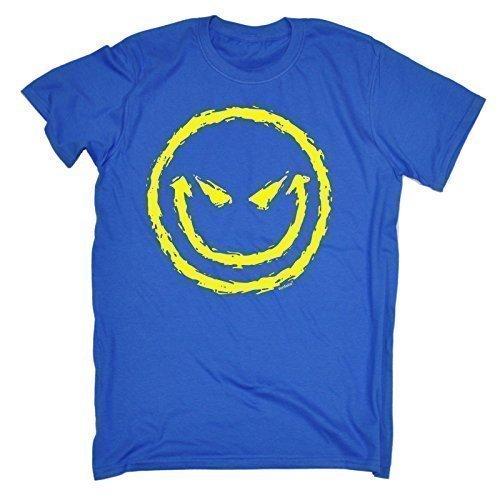 123T Kids - Kinder Premium T-Shirt Böses Smiley Gesicht Design - L, Königsblau (T-shirt Böse Das Smiley-gesicht)