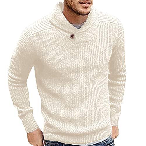 Yvelands Herren Strickpullover Pullover Männer Winter Langarm Solide -
