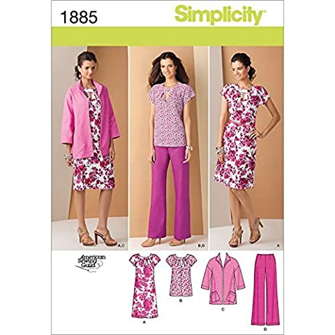 Simplicity Pattern 1885 Women's Pullover Dress or Tunic, Jacket and