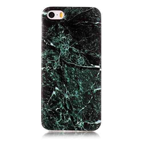 "Coque iPhone 5s, SsHhUu Ultra Mince [Marbre Pattern] Flexible Caoutchouc Doux TPU Skin Case Bumper Silicone Gel Anti-Scratch Cover pour Apple iPhone 5 / 5s / SE (4.0"") Rose-Blanc-Noir Vert Foncé"