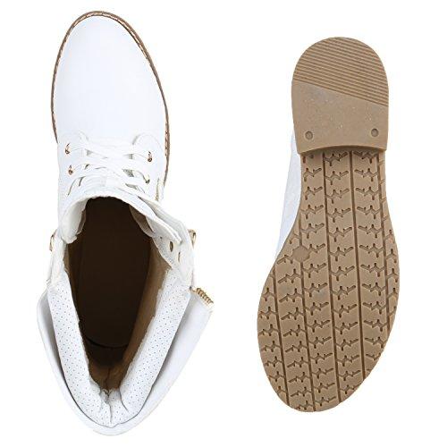 Stylische Damen Stiefeletten | Worker Boots Spitze | Knöchelhohe Stiefel Gesteppt | Damenschuhe Leder-Optik | Zipper Ketten Blockabsatz Weiß